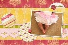 Sparklehearts ruffly skirt. 12x12 Digital Scrapbook Template cut to 4x6 size from Pixelscrapper