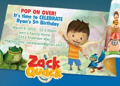 DIY Printable Personalized  zack and quack birthday by CMLDesigns