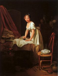 ...just barely out of the 18th century...    Young Woman Ironing    Here is a young lady ironing in her shift, bodice and apron. Her bed jacket or shortgown is draped on the back of the chair. Note the irons being heated on a portable brazier.    oil on canvas by Louis-Léopold Boilly (1761–1845)  c.1800  Museum of Fine Arts, Boston, Massachusetts