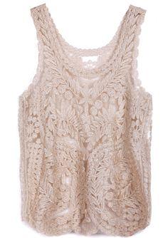 Gold Sleeveless Leaf Sheer Crochet Lace Vest US$22.26