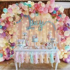 16 Balloons, Balloon Garland, Balloon Decorations, Birthday Party Decorations, Balloon Arch, Pastel Party Decorations, Birthday Ideas, Balloon Ideas, Latex Balloons