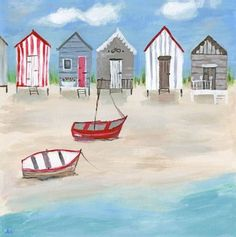 Illustrative Beach Huts Canvas, Sea, Sand perfect for a beach house or bathroom | eBay