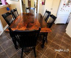 Reclaimed Wood Harvest Table with epoxy/polyurethane finish Ontario Barnwood Cambridge,ON by HD Threshing Floor Furniture www.hdthreshing.com