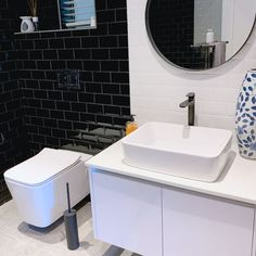 """We love receiving feedback from our happy clients: """"The range of black accessories is not only stylish but super funky and sophisticated. They totally transformed our bathroom and go perfectly with all our sanitary-ware. Thank you – Jamie-Lee Rosenberg Wanting To Be Alone, Jamie Lee, Alicia Keys, Toilet Brush, Bathroom Inspo, Brushed Stainless Steel, Cry, Sink, Range"""