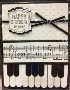 Black  white handmade card featuring the Label Love stamp set and Music Notes wheel from Stampin Up!