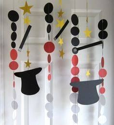 Paper Garland Magic Decorations Magic Party Magic Hats and Wands Birthday Party Decoration Carnival Party Construction Birthday Parties, 6th Birthday Parties, Birthday Party Decorations, Construction Party, Party Centerpieces, Magie Party, Magic Decorations, Magician Party, Magic Theme