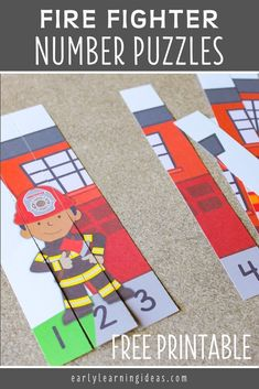 A high-interest math activity for boys!  Use these free fire truck printables to fun way to teach number recognition and number order. Both fire truck number puzzles will be great addition to your community helpers theme, fire safety theme, or firefighters theme unit and lesson plans in preschool or pre-k.  Teachers and children will love these fire trucks and firemen free printables.  Make math learning fun for kids ... perfect for learning at home. Fire Safety Crafts, Fire Safety Week, Preschool Fire Safety, Activities For Boys, Kindergarten Activities, Number Activities, Counting Activities, Fire Prevention Week, Community Helpers Preschool