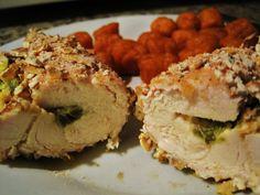 Spicy Pretzel Breaded Stuffed Chicken