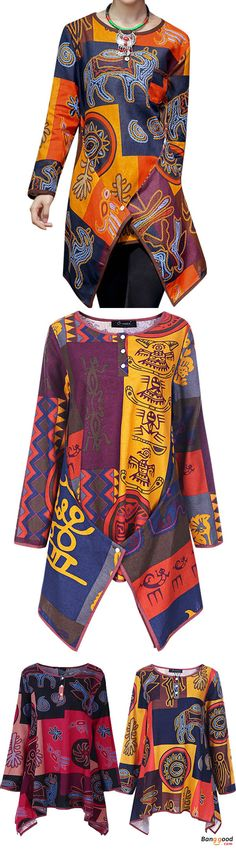 US$19.99 + Free shipping. Ethnic Style Women Multi-color Printing Irregular Hem Blouse. Women's vintage fashion, blouses for women, shirts for women, printing style blouses, ethnic style outfit. 3 colors to choose, US Size: L-5XL. Shop now!