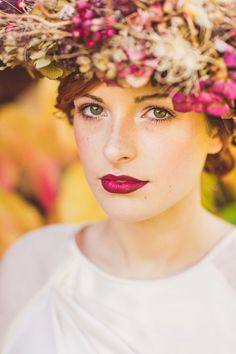A Bridal Beauty Tutorial Showing Brides How To Create The Perfect Berry Lip and Metallic Eye For Their Wedding Day. 0023 The Fall: The Beaut. Wedding Day Makeup, Bridal Makeup Looks, Bridal Hair And Makeup, Bride Makeup, Bridal Beauty, Wedding Beauty, Hair Makeup, Wedding Lips, Red Lip Makeup