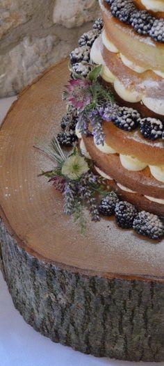 Rustic Lavender Naked Wedding Cake
