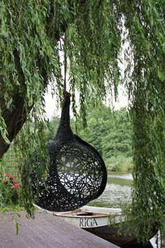Manu Nest hanging chair by Maffam Freeform. Black Garden, Garden Signs, Unique Gardens, Swinging Chair, Beautiful Mess, Garden Furniture, Fountain, Eco Friendly, Nest