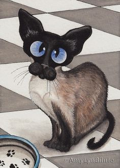 Siamese Cat Limited Edition ACEO Print by AmyLyn by AmyLynBihrle, $8.99