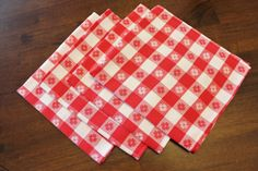 Red and White Gingham Napkins 4 by losttreasures2u on Etsy, $16.99