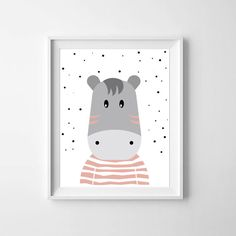 Baby Zebra in Pastel Pink nursery print by LilMateStudio