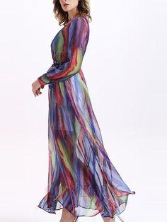 Sisjuly® Ericdress Boho V-Neck Stripe longue Maxi Dress Robe maxi