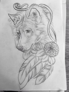 The artwork for my custom wolf tattoo done by Age Grech from Sydney. I've known the wolf was my Spirit animal since I was 17 and despite having 4 other tattoos since then, the right artist for this one didn't come along til now. My love of Native American beliefs saw the dream catcher incorporated and the 3 feathers are for myself and my 2 special souls, my sons. #WolfTattooIdeas