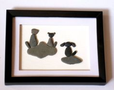 Family Pebble Pet Animal Picture framed in a Shadow Box; Pebble Cat and Dog; Vet Gift; Gift for Cat Lover; Gift for Animal Lover; Pebble Pet