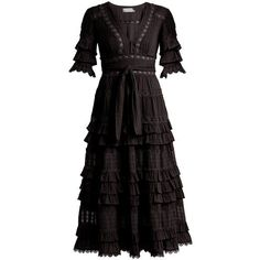 Zimmermann Corsair deep V-neck ruffled cotton dress (€1.080) ❤ liked on Polyvore featuring dresses, vestido, black, ruffle dress, zimmermann dress, tiered dresses, cotton day dress and embellished dress