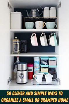 #Clever #Simple #Ways #Organize #Small #Cramped #Home Bathroom Storage, Bathroom Medicine Cabinet, Small Bathroom, Bathroom Ideas, Kitchen World, Big Coffee, Pantry Organization, Organizing, Dining Room Design
