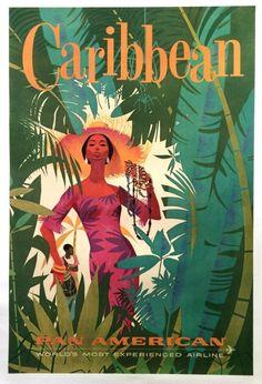 Original Pan Am Poster 1960 CARIBBEAN Vintage Airline Travel Jamaica West Indies by jamaicanlips