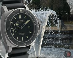 """""""A Refreshing Morning!"""" Officine #Panerai 47mm Luminor Submersible 1950 O Series Ref#: PAM 389 ($8,475.00 USD) http://www.elementintime.com/Officine-Panerai-Luminor-Submersible-Collection-PAM-389-9847-Titanium"""