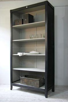 Gorgeous color bookshelf unit. Black chalk paint or a matte black with light color interior!