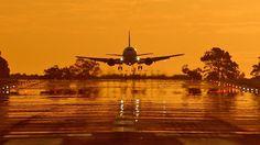 Airbus A310 1080p Wallpaper, Wallpaper Downloads, Wallpapers, Airbus A310, International Civil Aviation Organization, Airport Design, Cute Sun, Orange Sky, Hd 1080p