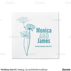 Wedding chervil / cows parsley teal paper napkins. Original art and design by www.mylittleedenweddings.com #weddingnapkins #chervil #queenanneslace