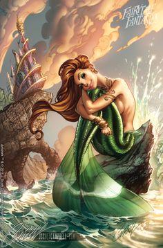Mermaid Fairy, Mermaid Tale, Fantasy Mermaids, Mermaids And Mermen, Evvi Art, Mermaid Artwork, J Scott Campbell, Drawn Art, Art Disney