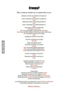 Creepy facts about JFK and Lincoln Currently checking on all these facts. But would be creepy Creepy Facts, Funny Facts, Funny Quotes, Random Facts, Funny Memes, Psychology Memes, Psychology Student, Learn Something New Everyday, Wow Facts