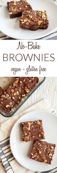 Fudgy No-Bake Brownies (vegan, gluten free) - These easy homemade brownies are a healthy tasty treat. Made from scratch, you won't want a box mix after having these! #veganbrownies #nobakebrownies