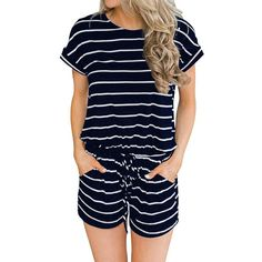 cc4fee3b07 Casual Summer Clothing Striped Jumpsuit Short Women Rompers  fashion   clothing  shoes  accessories