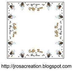Coffee Time cross stitch pattern - Kávés terítő keresztszemes minta