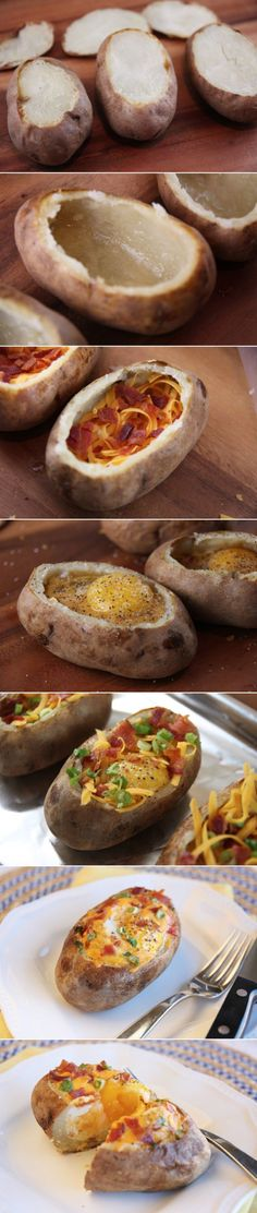 Idaho Sunrise: Egg-stuffed baked potatoes!