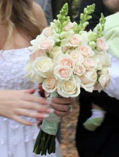 This is how my DIY wedding bouquet turned out. Blush roses, blush tea roses and white snapdragons. All from the SF flower mart.