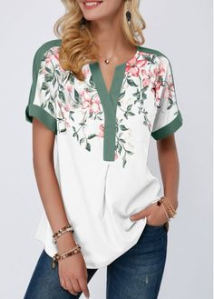 Women'S Sage Green Floral Print Notch Neck Short Sleeve Tunic Spring Blouse Contrast Piping Casual Top By Rosewe Contrast Piping Notch Neck Floral Trendy Tops For Women, Blouses For Women, Stylish Tops, Women's Blouses, Formal Blouses, White Blouses, Trendy Fashion, Womens Fashion, Ladies Fashion