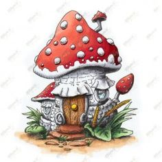 Make It Crafty Rubber Stamp - Background - Mushroom House