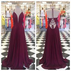 Halter Burgundy Long Chiffon Prom Dress