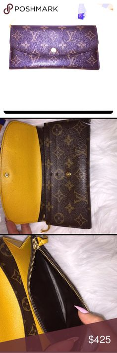 ⭐️LV MIMOSA EMILIE WALLET⭐️ See last photo for specs- has slight corner rubs normal use (being opened and closed) very faint marks on inner flap hard to see- button needs to be replaced by either LV (its a common occurrence with the Emilie style wallet) or I've seen some people paint them or have them replaced with other buttons from a shoe repair shop. 100% auth And only 2yrold All my items are preowned and have been used- please do not purchase if you are expecting a brand new item in…
