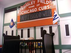 GO CUBS!, A Wrigley Field inspired bedroom. Three pinstriped walls and the wall being a mural of Wrigley Fields west facade, complete w. Boy Room, Kids Room, Child's Room, Nursery Themes, Nursery Ideas, Bedroom Ideas, Vintage Baseball Party, Baseball Nursery, Baby Bug