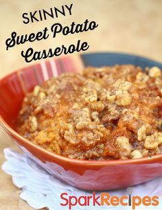 This is the BEST sweet potato casserole recipe!! I make it every year! | via @SparkPeople #Thanksgiving #recipe #sweetpotato
