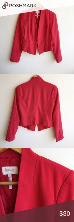 """Laundry by Shelli Segal Red Blazer Size 10 Gorgeous Laundry by Shelli Segal Red Blazer. Size 10. This Blazer is in excellent condition. No stains or flaws. Color: Red. Measurements: Chest is 19"""" from armpit to armpit, length is approximately 25"""" Laundry by Shelli Segal Jackets & Coats Blazers"""