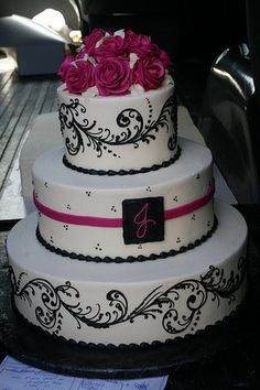 black and white scroll cake...change the pink to red and it's perfect!!! LOVE IT!