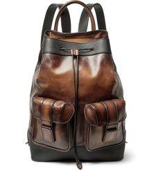 Berluti Horizon Polished and Pebble-Grain Leather Backpack