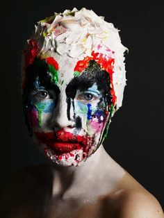 Image 2- WARPAINT* Alex Box, this is an interesting take on a clown makeup and has the texture of a cream pie. The dripping and thick colours just add to the already developed style