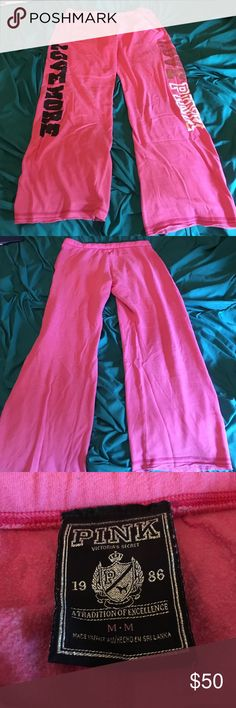 Vs pink sweats Comfy vs pink sweats! They are pink and have only been worn 3 times. All letters have no cracks or fades! Size medium! PINK Victoria's Secret Pants