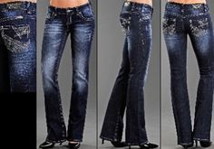 Rock & Roll Cowgirl Jeans with Mix Zig-Zag and Feather Embroidery with Stones