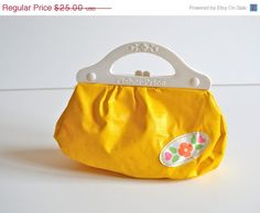 Vintage Fisher Price Toy Plastic Purse Canary Yellow. i had this exact same one as a child. i use to carry my makeup and fake keys in it lol