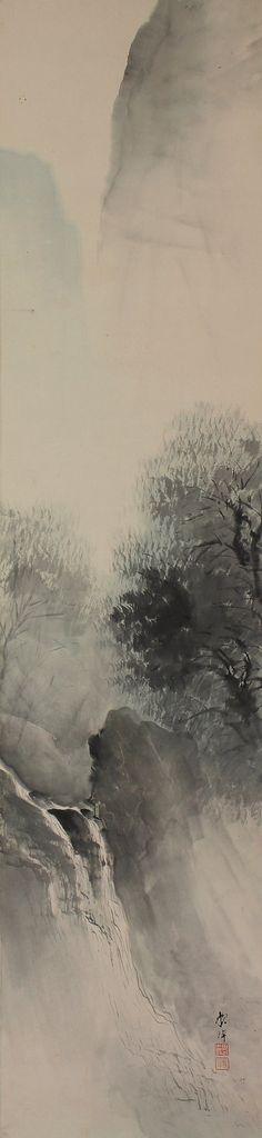 Japanese Fine Art Painting Wall Hanging Scroll Landscape and Waterfall Spring Scene Kakejiku – 1405025